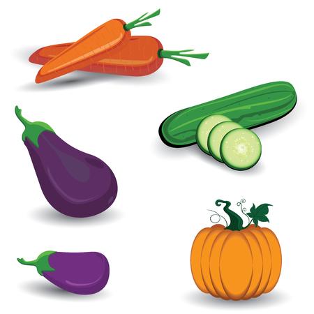 Set of vegetable on white background. Vegetarian organic healthy food cuisine. Ilustrace