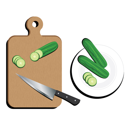 Cutting Board With kitchen knife And Cucumber on white background.