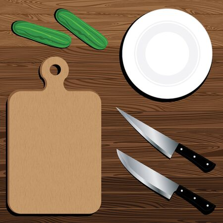 Cutting Board With Knife And Cucumber on brown Lath boards background. Ilustrace