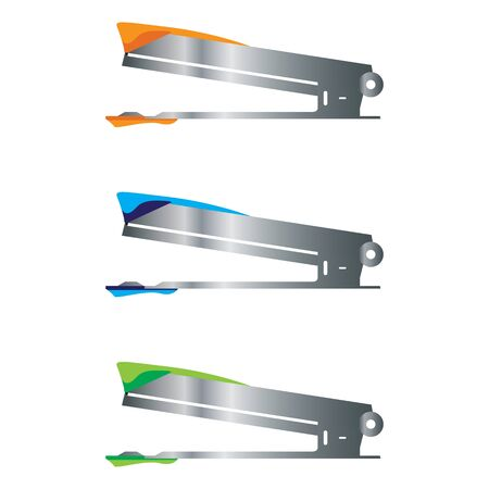 Office stapler with stainless steel handle isolated on white background. Ilustrace