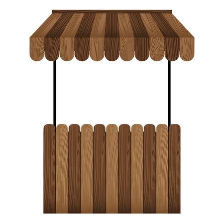 木製の市場の屋台と白い背景に隔離された暗い茶色の日よけ。 写真素材 - 95925810