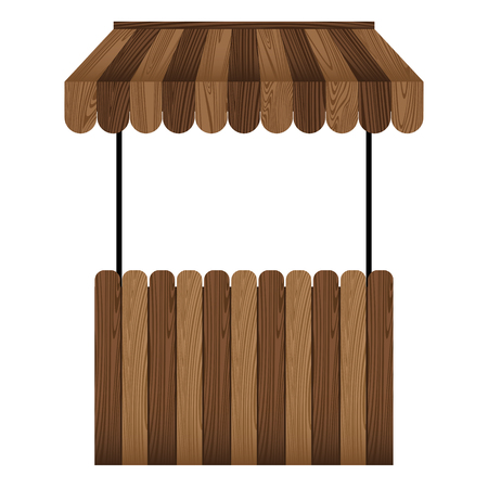 Wooden market stall and dark brown awning isolated on white background.