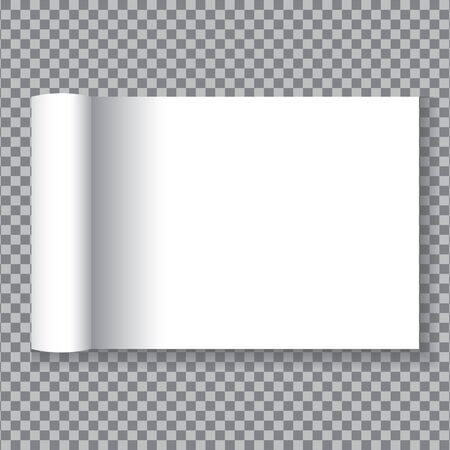 Open the white paper pages on transparent background.