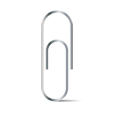 Paper clip isolated on white background. Silver color paper clip.