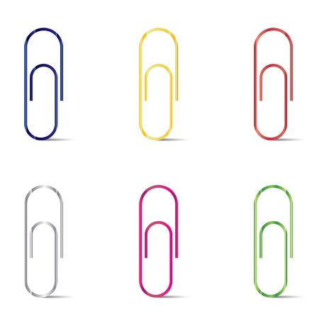 Paper  clips isolated on white background. colorful paper clips.
