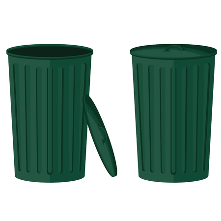 Green trash in the open and closed collection isolated on white background. Bin vector.