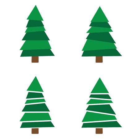 Set of Christmas tree isolated on white background.
