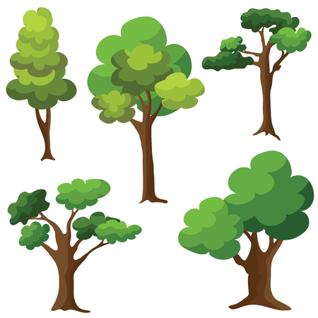 Set of Trees isolated on white background. Cartoon of green trees design.
