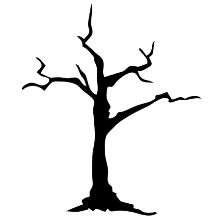Silhouette dead tree without leaves on white background. Dead tree.