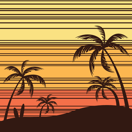 Beach Seashore. Surf and Coconut trees. Vintage beach background. Ilustrace