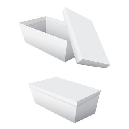 Empty boxes and lids separated on a white background. Ilustrace