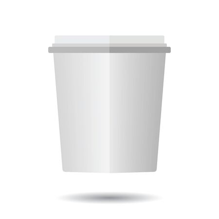 Beautiful white disposable paper cup on white background.