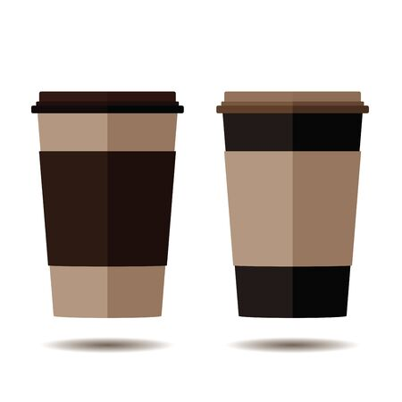 Brown and Black color disposable coffee cup isolated on brown background. Ilustrace