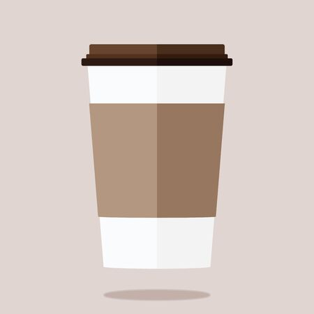 Disposable coffee cup icon on brown background.