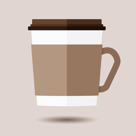 Hot disposable coffee cup icon on brown background. Ilustrace