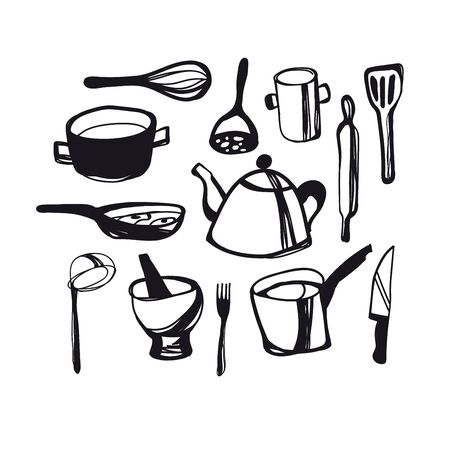 A set of kitchen accessories illustration.