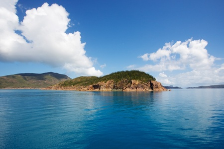 Blue ocean and blue skies of Whitsunday Passage, Australia