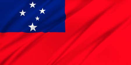 samoa: Flag of Samoa waving in the wind