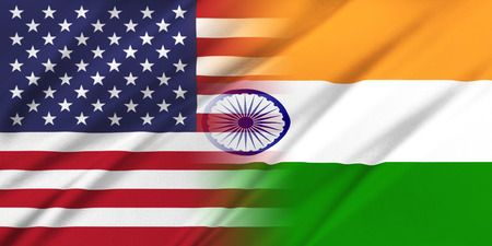 bandera de la india: Las relaciones entre los países. EE.UU. y la India. Foto de archivo