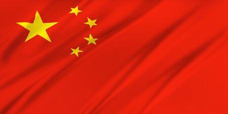 personas saludando: Bandera de China ondeando en el viento Foto de archivo
