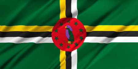 Flag of Dominica waving in the wind photo
