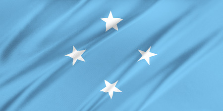 micronesia: Flag of Federated States of Micronesia  waving in the wind Stock Photo