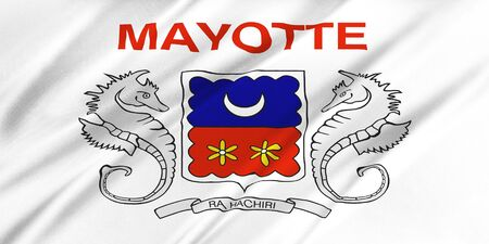 mayotte: Flag of Mayotte waving in the wind