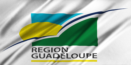 guadeloupe: Flag of Region Guadeloupe waving in the wind