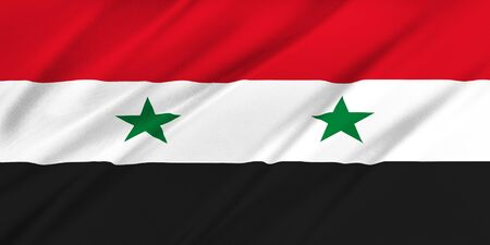 Syria: Flag of Syria waving in the wind Stock Photo