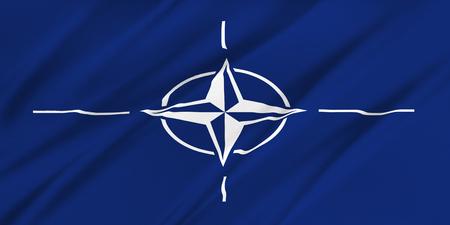 verdrag: NAVO-vlag. De vlag van de Noord-Atlantische Verdragsorganisatie. Stockfoto