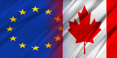 provocation: European Union and Canada. The concept of relationship between EU and Canada. Stock Photo