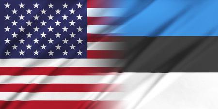 Relations between countries. USA and Estonia. Фото со стока