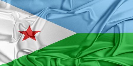 djibouti: Flag of Djibouti waving in the wind