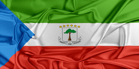equatorial: Flag of Equatorial Guinea waving in the wind