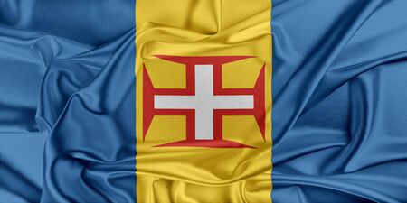 madeira: Flag of Madeira waving in the wind Stock Photo