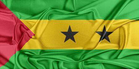 principe: Bandera de Santo Tomé y Príncipe ondeando en el viento