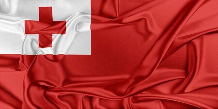 tonga: Flag of Tonga waving in the wind Stock Photo