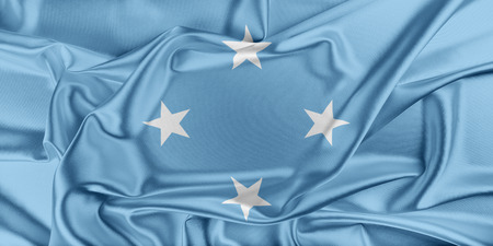 federated: Flag of Federated States of Micronesia  waving in the wind Stock Photo