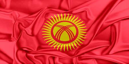 kyrgyzstan: Bandera de Kirguistán ondeando en el viento