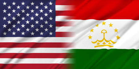 provocation: Relations between two countries. USA and Tajikistan Stock Photo