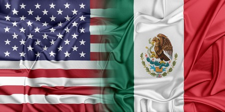 Relations between two countries. USA and Mexico Фото со стока
