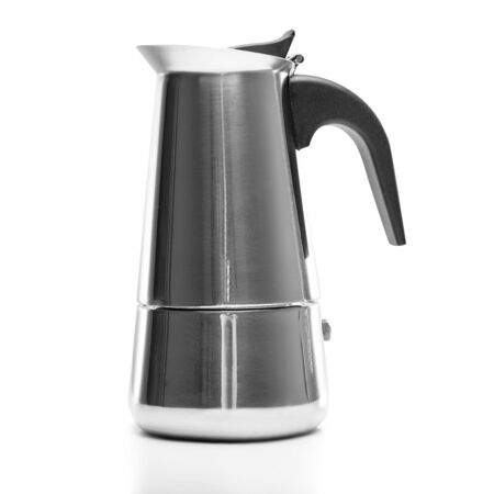 percolator: Coffee maker with the lid closed. Isolated on a white background.