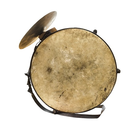 Vintage old drum on a white background Фото со стока
