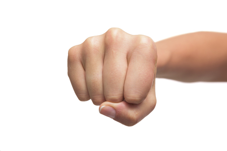 front view: Woman fist isolated on a white background. Front view. Stock Photo