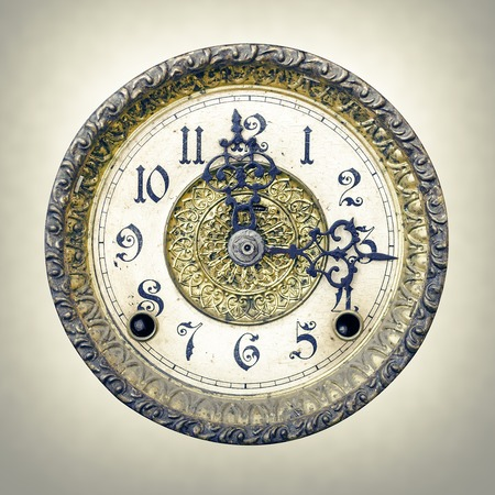 past midnight: Texture old wall clock. A front bluntly view. Stock Photo