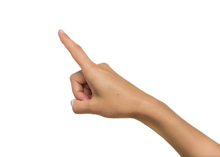 hand in hand: Woman hand pointing up with index finger or pressing button