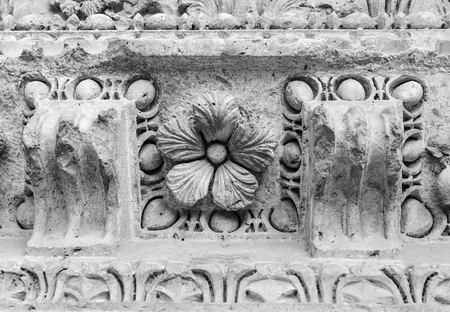 edifice: Architectural details of the ancient edifice with fretwork