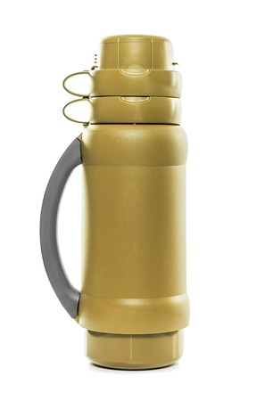 insulated drink container: The golden thermos. Isolate on white background.