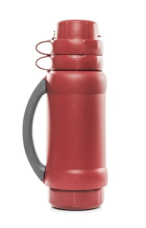 vertical fridge: The red thermos. Isolate on white background.