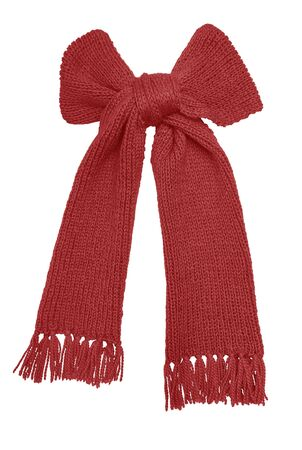 neckcloth: Red knitted scarf isolated on white background.